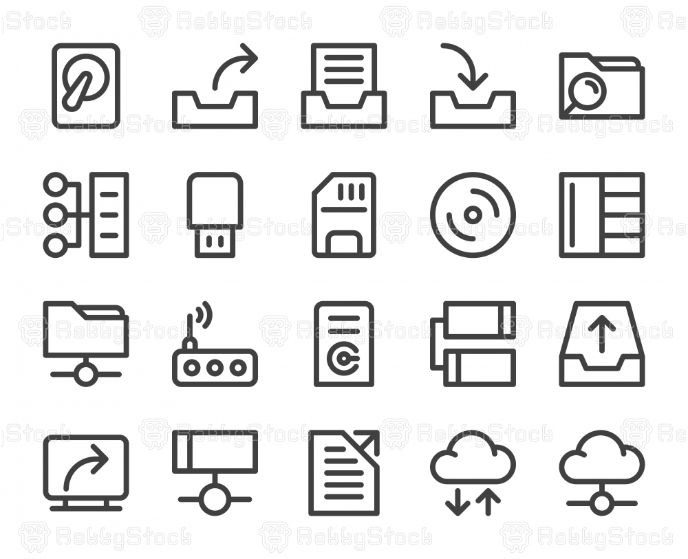 Data Storage - Bold Line Icons