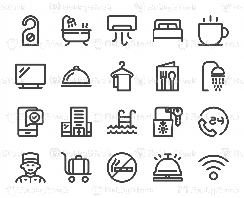 Hotel - Bold Line Icons