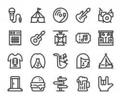 Music Festival - Bold Line Icons