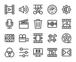 Movie Making and Video Editing - Bold Line Icons