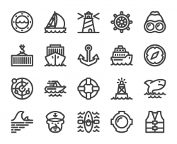 Nautical and Harbor - Bold Line Icons