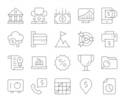 Business and Finance - Thin Line Icons