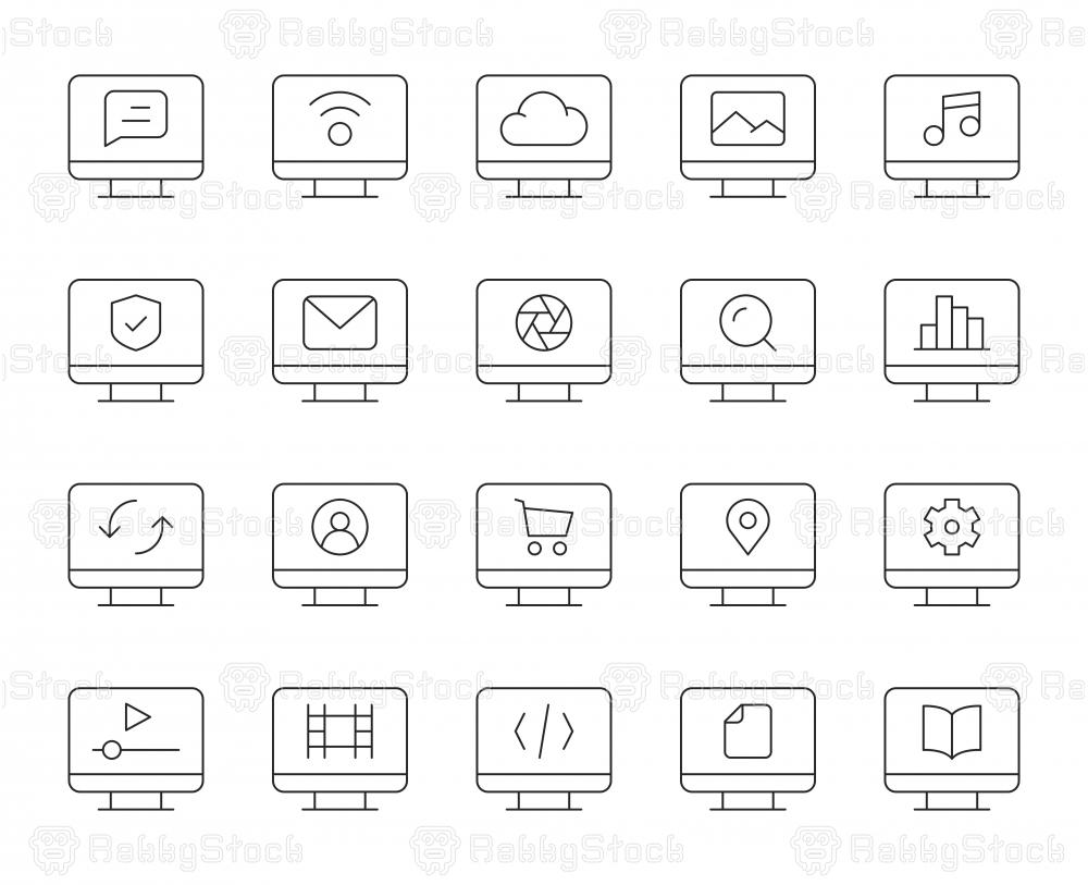 Desktop - Thin Line Icons