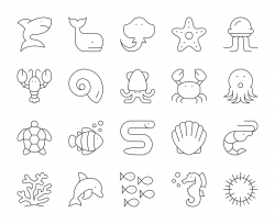 Sea Life and Ocean animal - Thin Line Icons