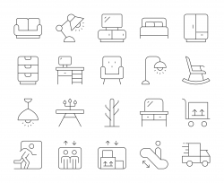 Furniture Outlet - Thin Line Icons