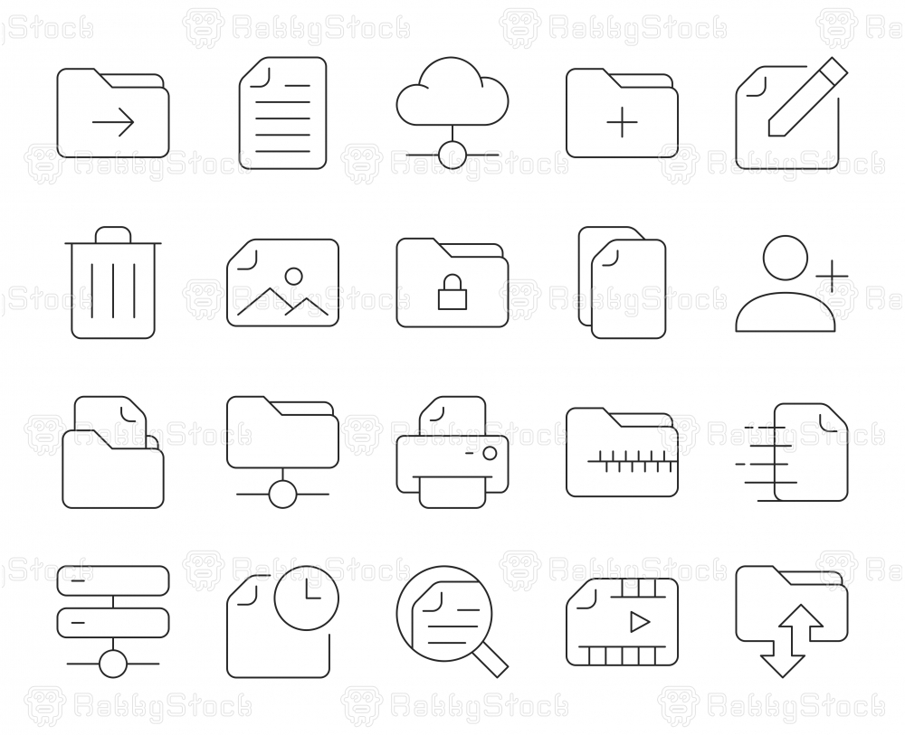 Storage Management - Thin Line Icons
