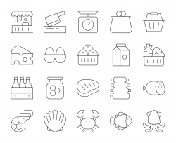 Fresh Market - Thin Line Icons
