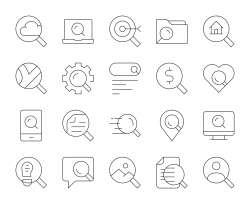 Searching Concept - Thin Line Icons