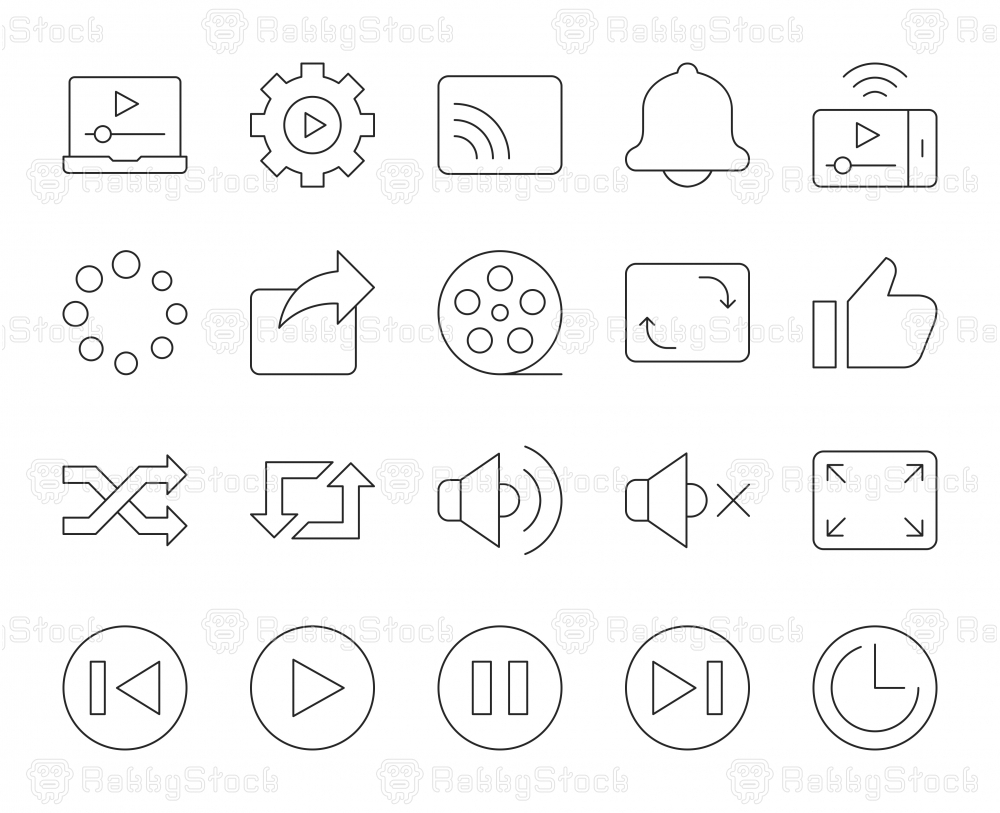 Video Streaming - Thin Line Icons