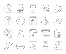 Shopping Mall - Thin Line Icons