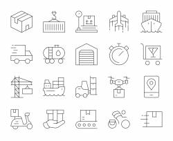 Logistics and Shipping - Thin Line Icons