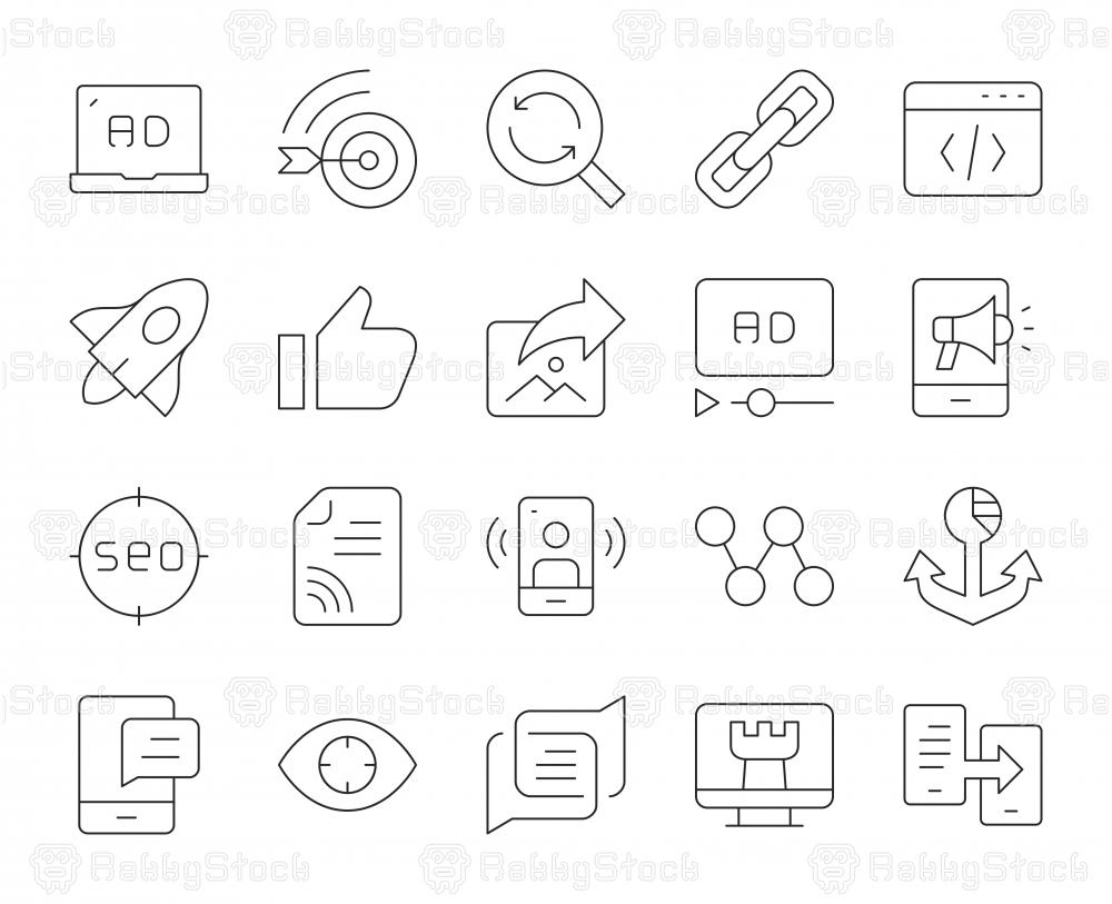 Digital Marketing - Thin Line Icons