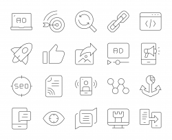 Digital Marketing - Thin Line Icons
