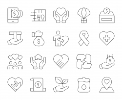 Charity and Donate - Thin Line Icons