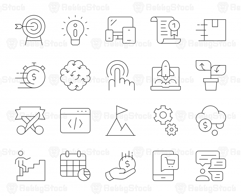 Startup Business - Thin Line Icons