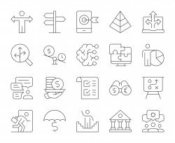 Business Solution - Thin Line Icons