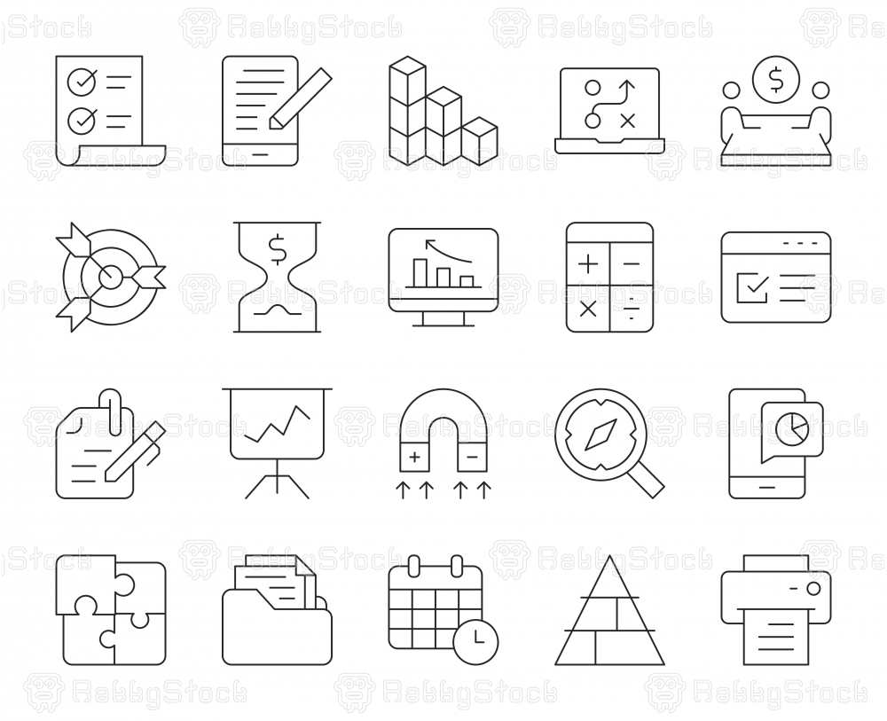 Business Plan - Thin Line Icons