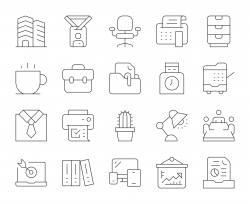 Business Office - Thin Line Icons