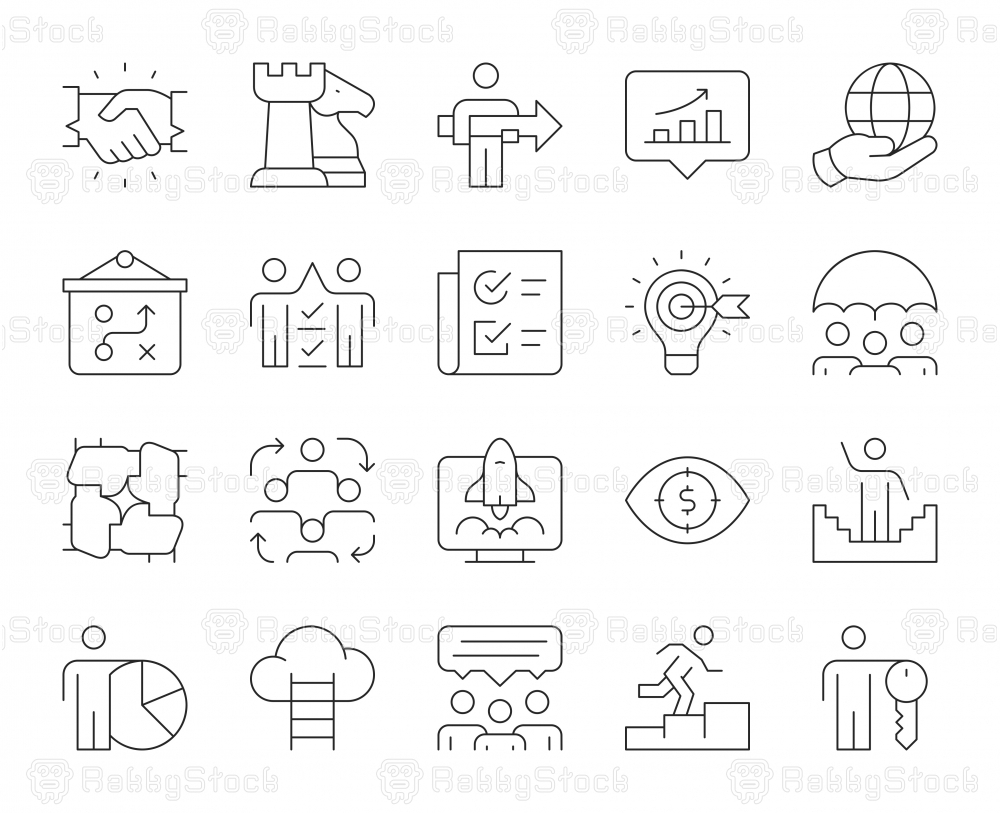Corporate Development - Thin Line Icons