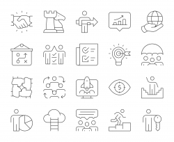 Corporate Development - Thin Line Icons