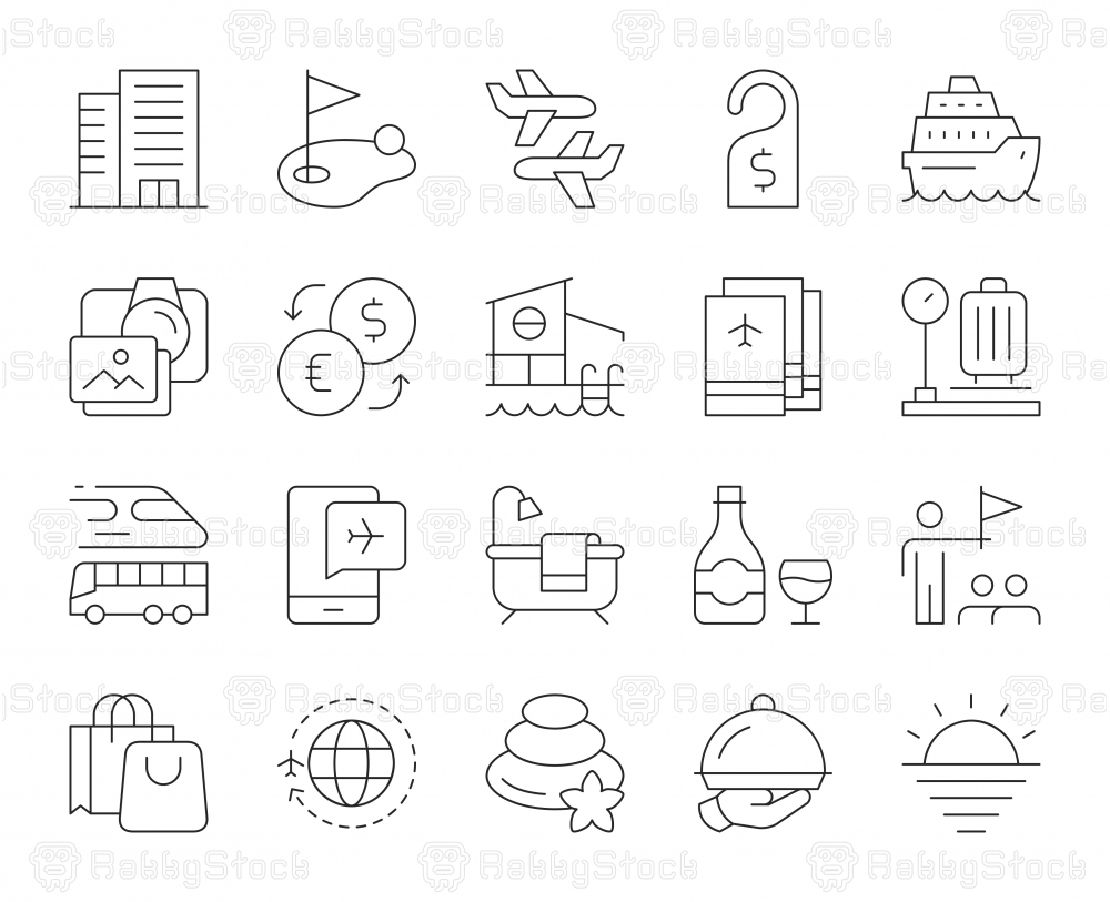 Business Travel - Thin Line Icons