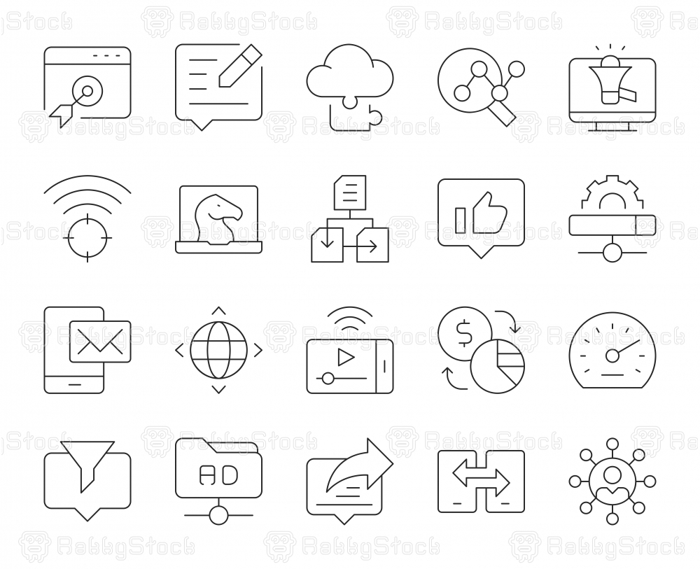 Internet Marketing - Thin Line Icons