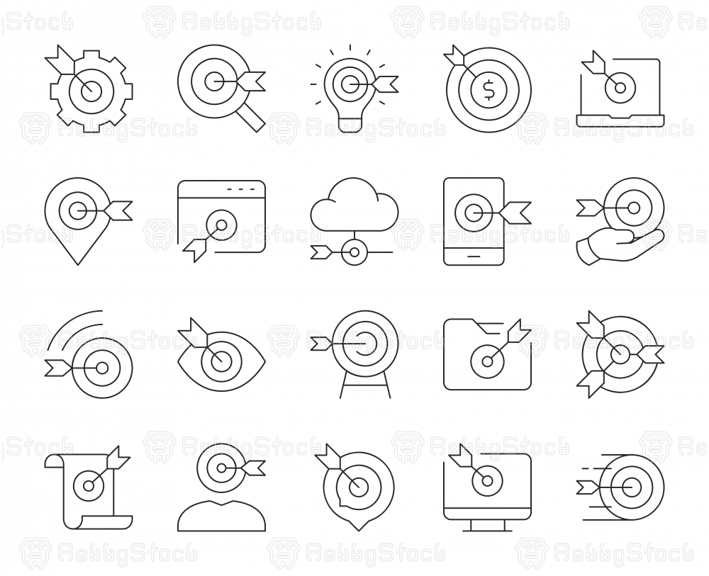 Target Market - Thin Line Icons