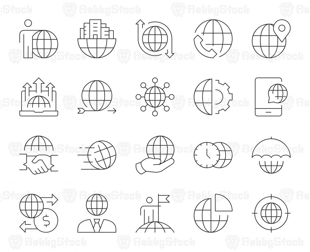 Global Business - Thin Line Icons