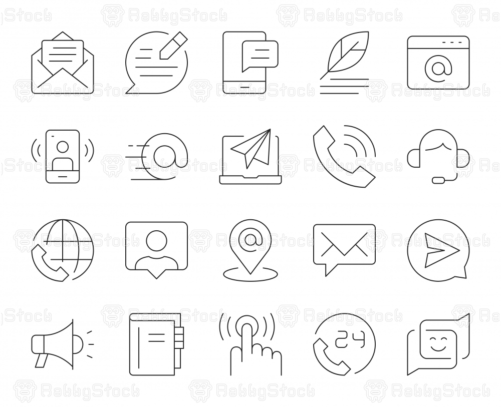 Contact Us - Thin Line Icons