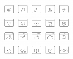 Web Page - Thin Line Icons