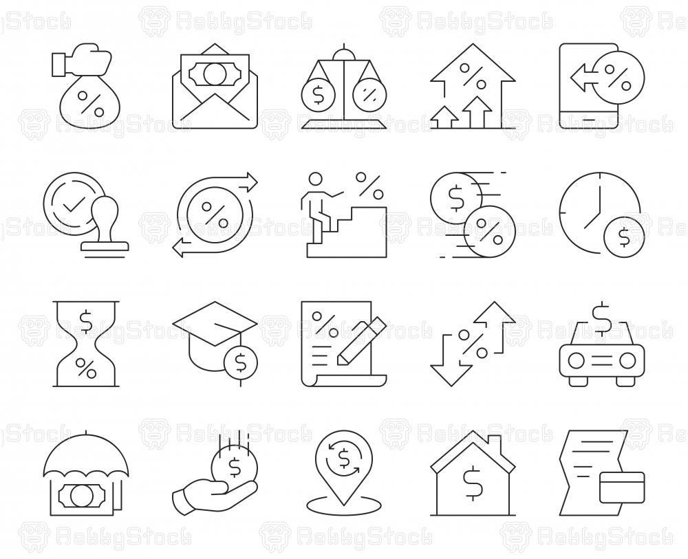 Loan and Interest - Thin Line Icons