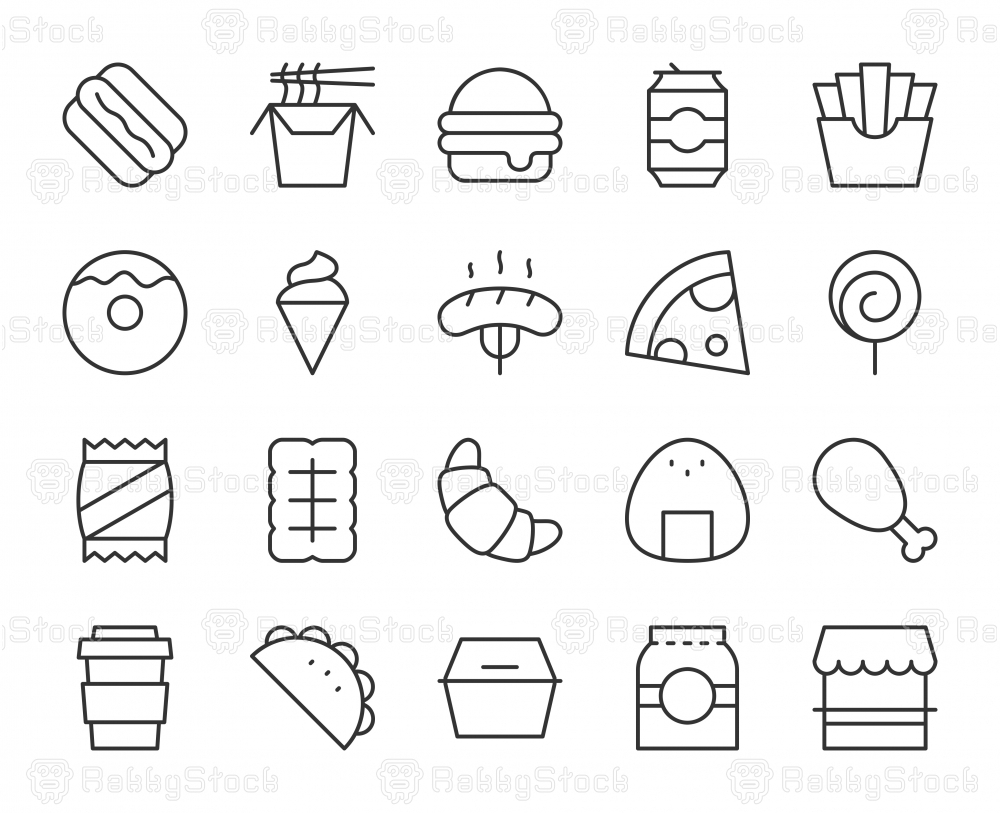 Fast Food - Light Line Icons