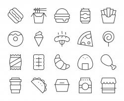 Fast Food - Light Line Icons