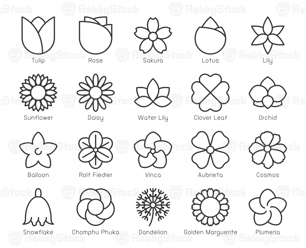 Flower - Light Line Icons
