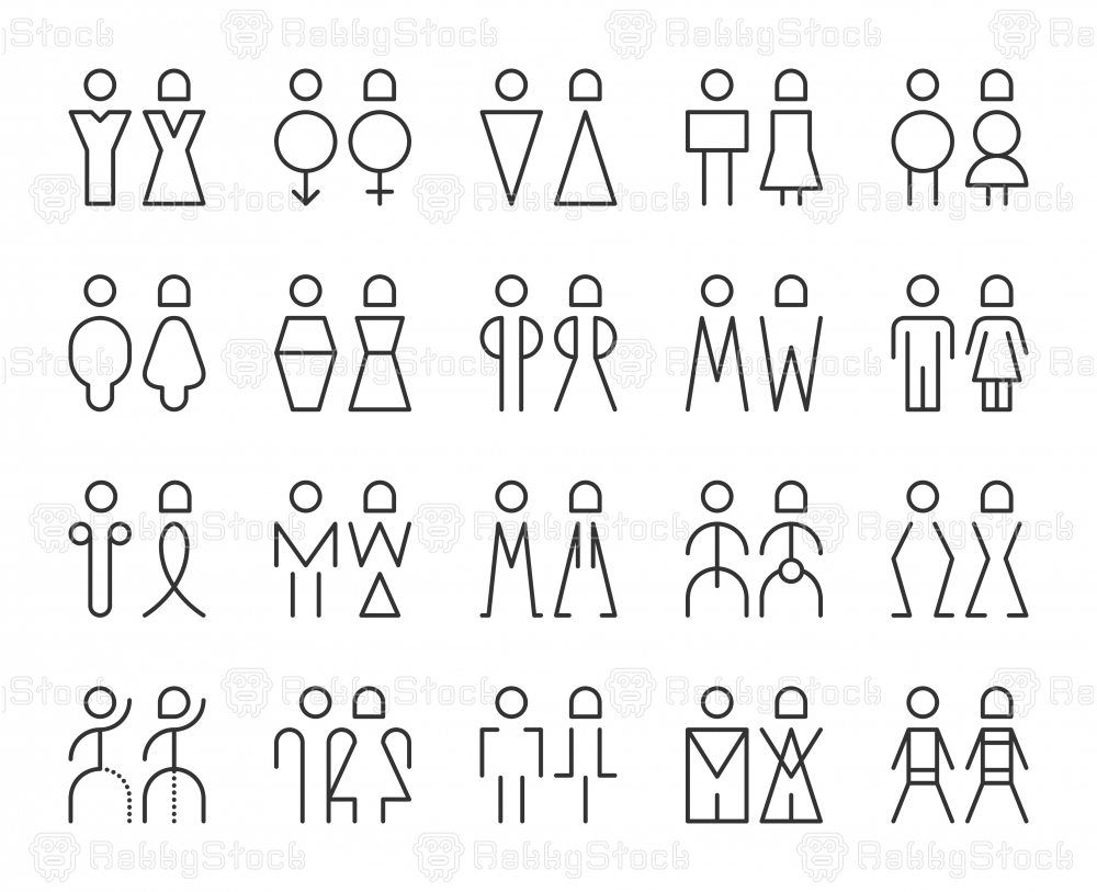 Men and Women Sign - Light Line Icons