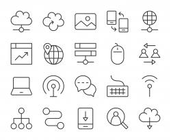 Internet - Light Line Icons