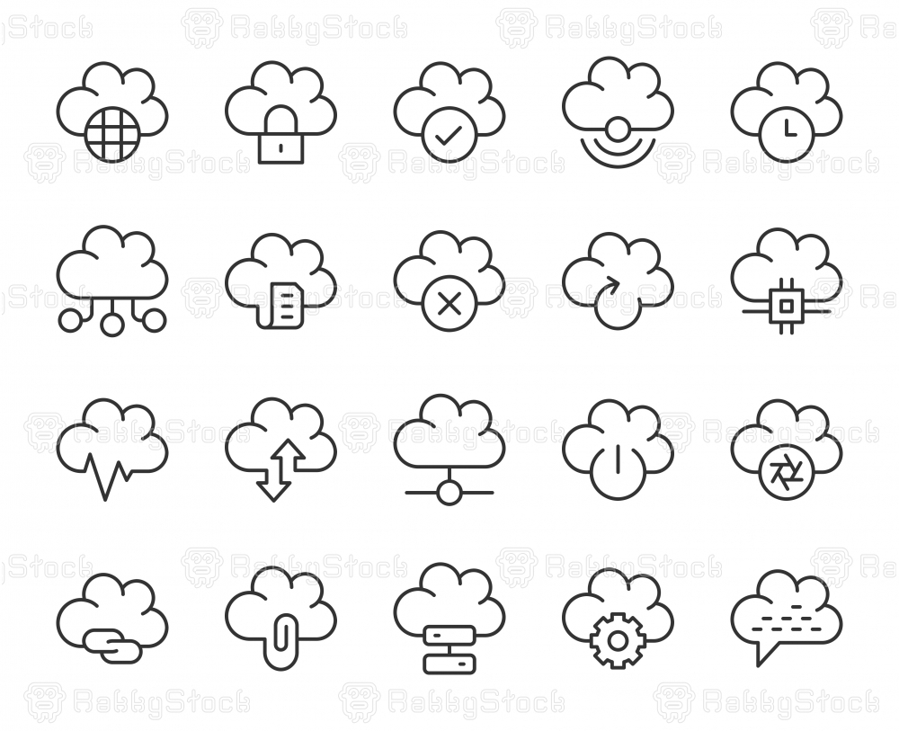 Cloud Computing - Light Line Icons