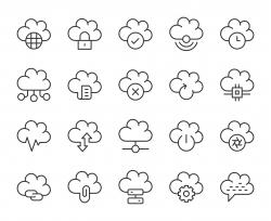 Cloud Computing - Light Line Icons
