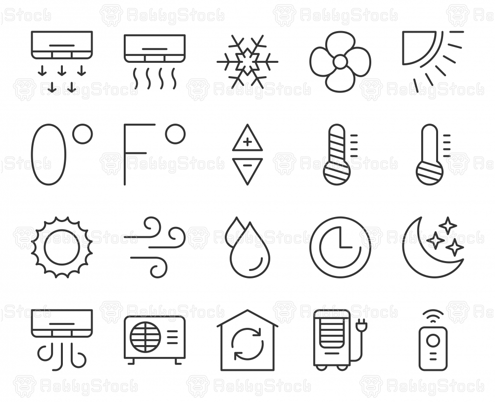 Air Conditioner - Light Line Icons