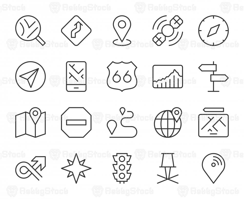 GPS and Navigation - Light Line Icons