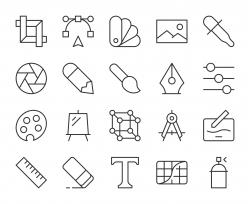Design and Drawing - Light Line Icons