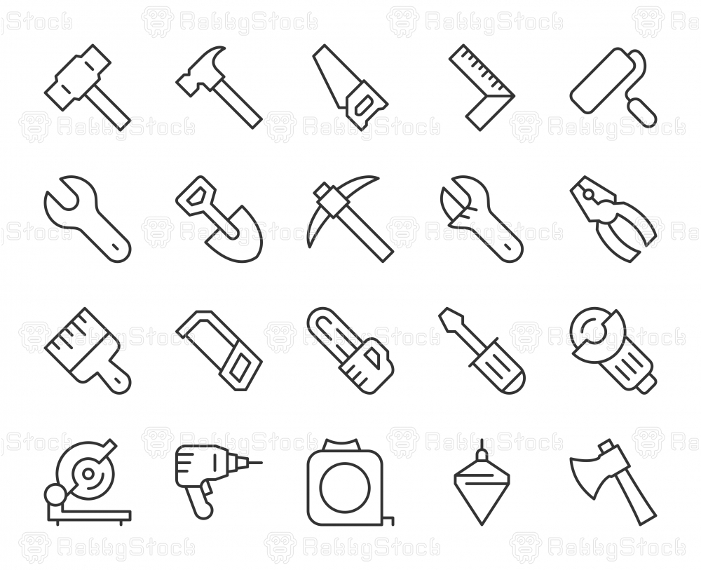 Work Tool - Light Line Icons
