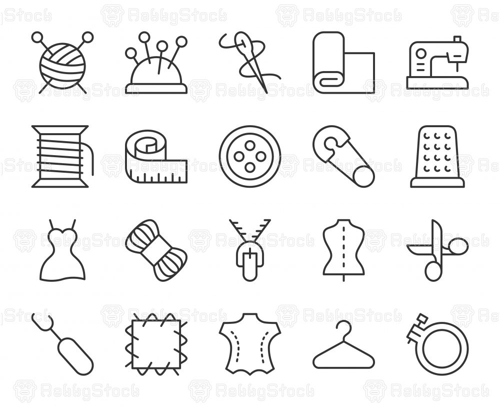 Sewing and Needlework - Light Line Icons