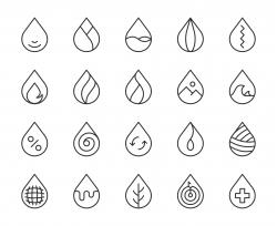 Drop Shape - Light Line Icons