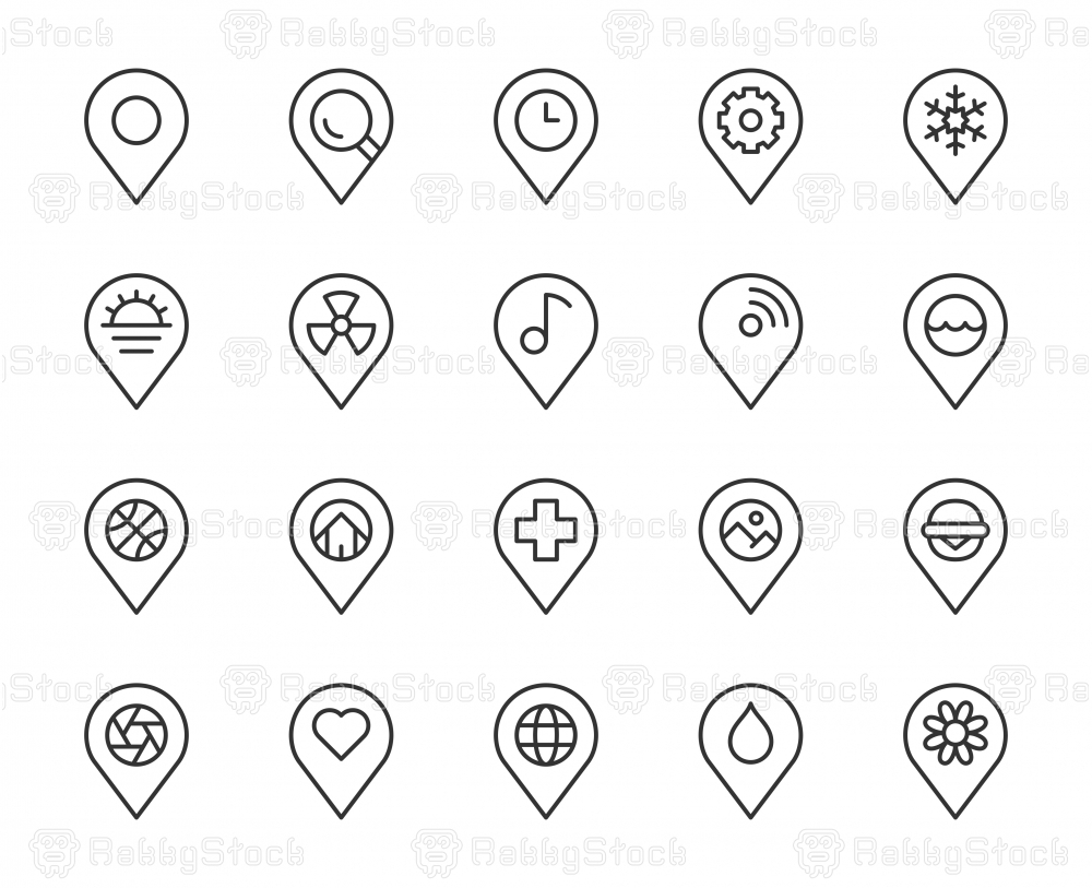 Map Pin Pointer - Light Line Icons