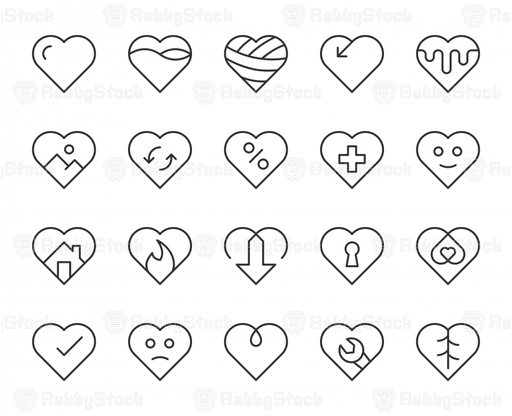 Heart Shape - Light Line Icons