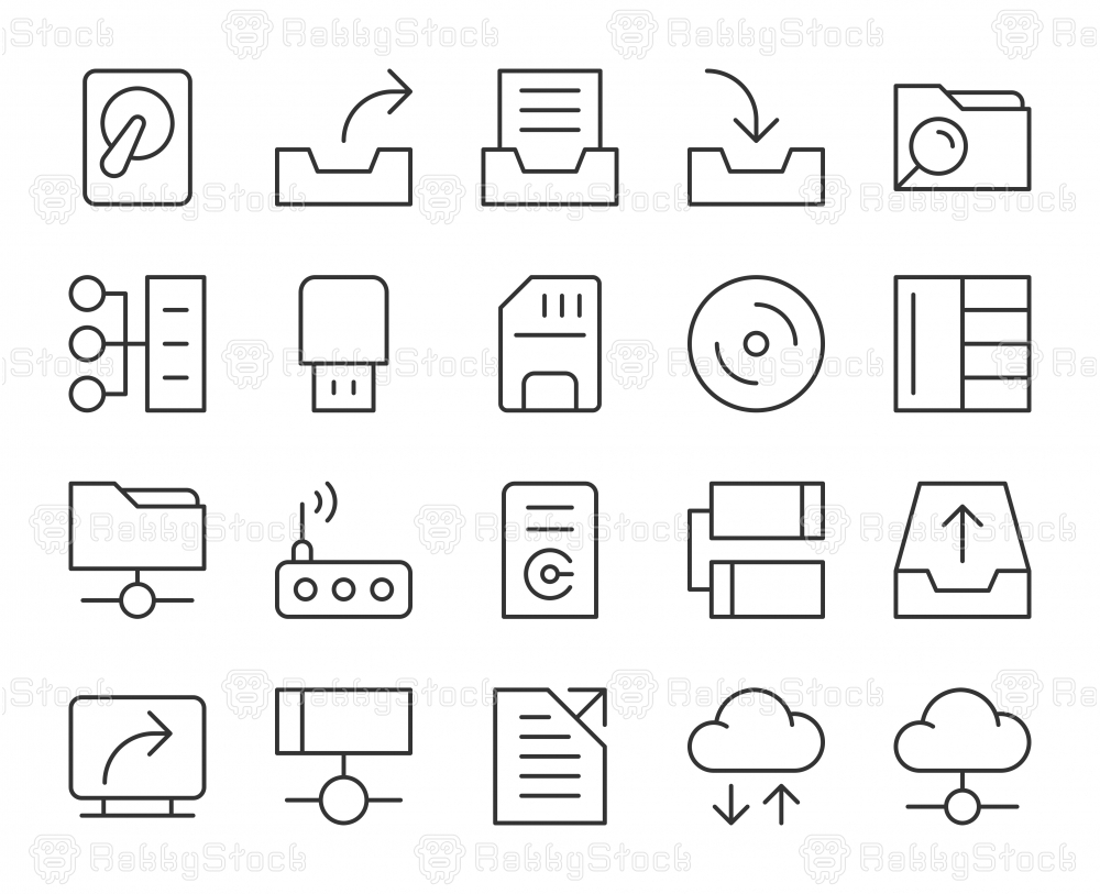 Data Storage - Light Line Icons