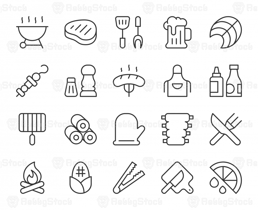 Barbecue Grill - Light Line Icons