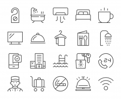 Hotel - Light Line Icons