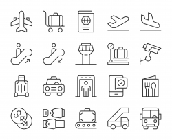 Airport - Light Line Icons